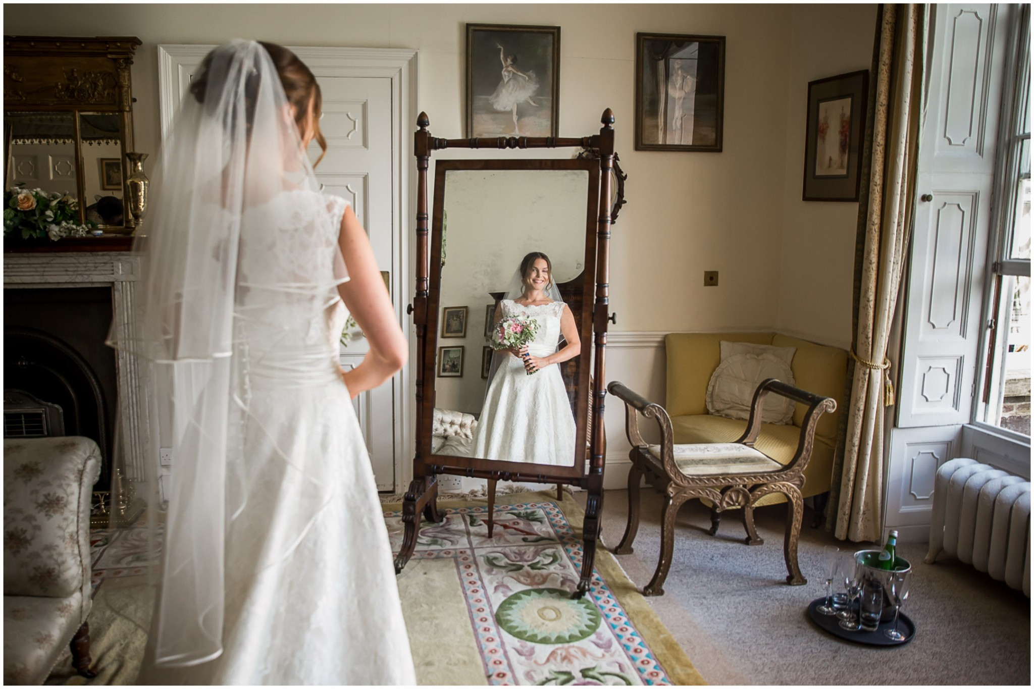 Avington Park Wedding Bride in mirror