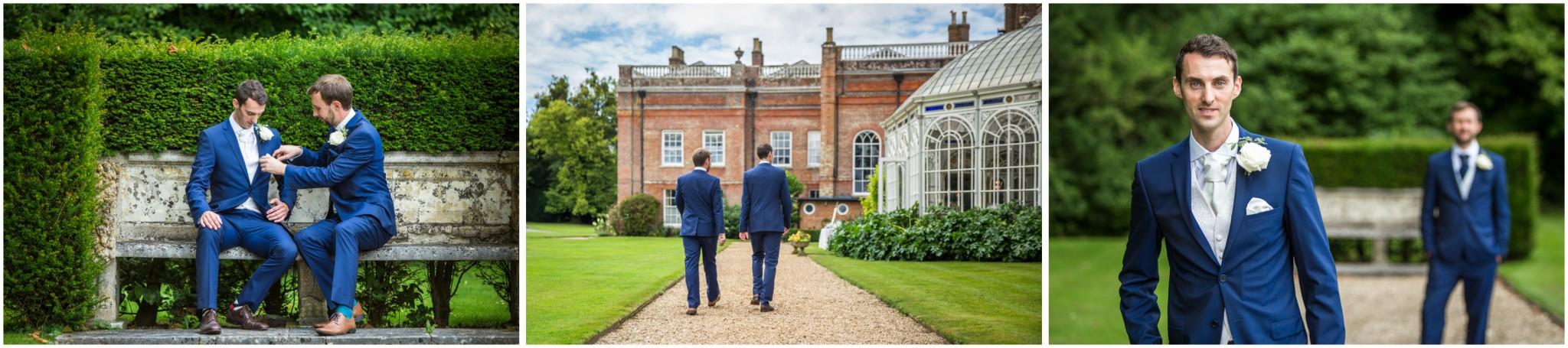 Avington Park Wedding Groom with Best Man in gardens