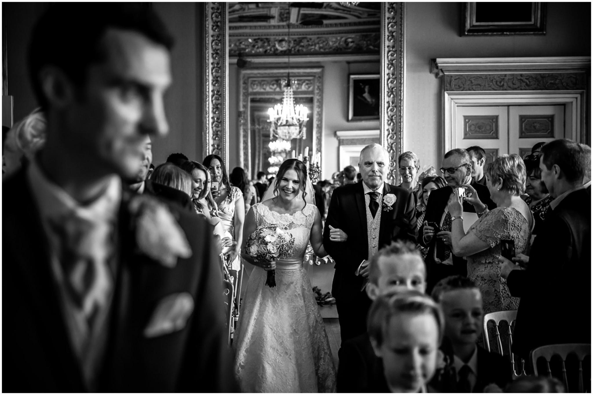 Avington Park Wedding Bride walking down the aisle