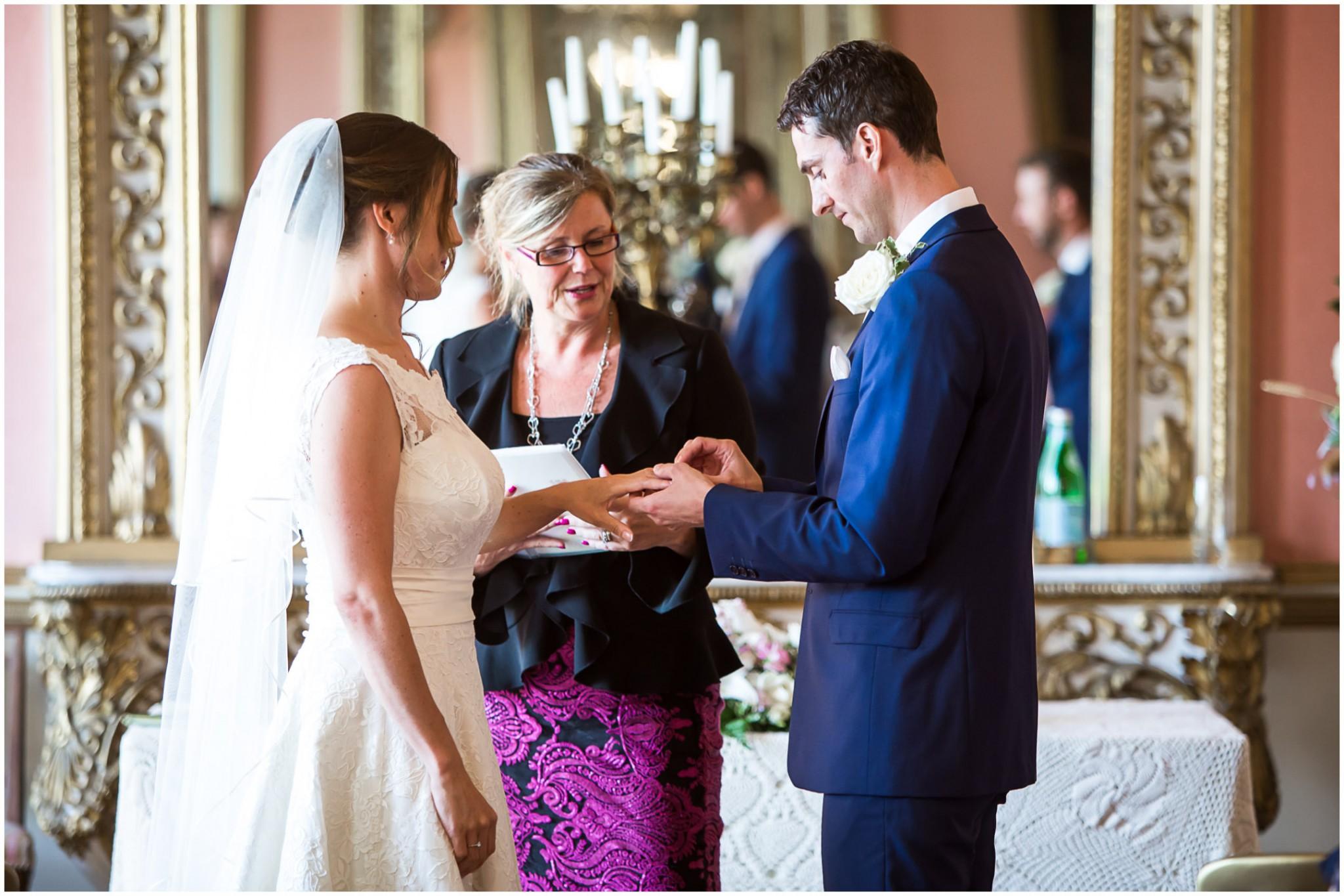 Avington Park Wedding Exchanging Rings