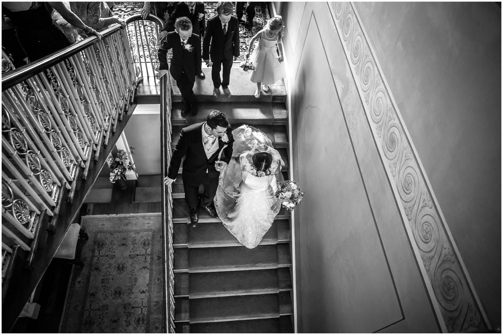Avington Park Wedding Bride & Groom on Staircase