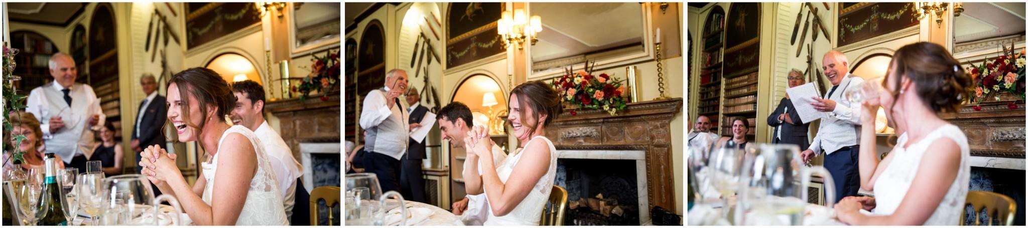 Avington Park Wedding Bride's Reaction to Father of the Bride Speech