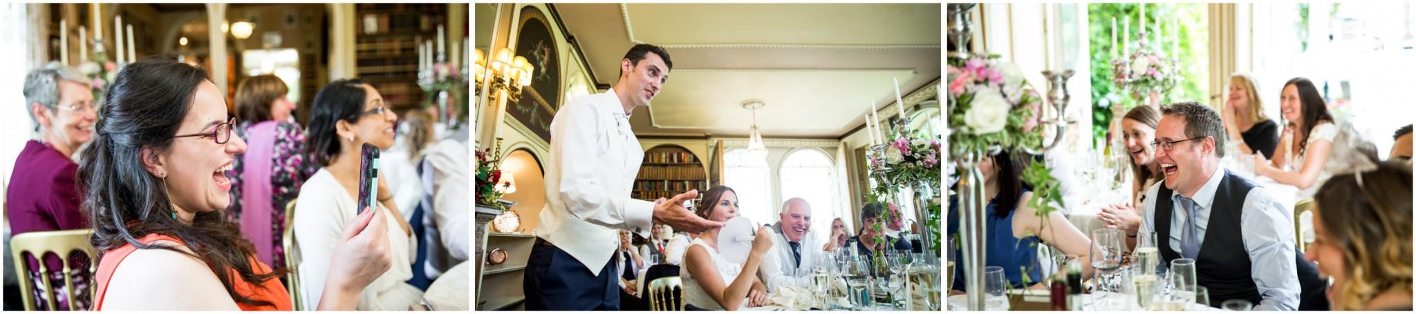 Avington Park Wedding Guest Reacting to Speech