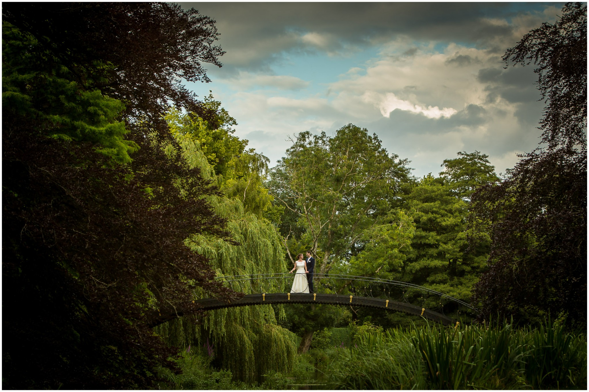 Avington Park Wedding Bride & Groom on Bridge 002